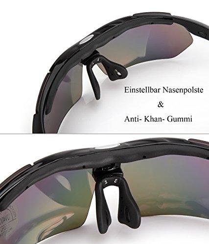 Fahrradbrille,Lypumso Sonnenbrille Polarisiert für Herren und Damen,Radbrille mit 5 Wechselgläsern UV400 Sportbrille für das Fahren Radsports Laufen Skifahren Angeln - 3