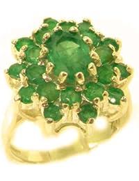 Magnifique Bague Émeraude Or jaune (9 carats) -- Pierres Précieuses 100% Véritables - Style Antique-Tailles 50 à 64