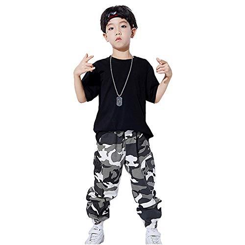 Kostüm Pop Dance Und - LOLANTA Kinder Teen Hip Hop Dance Performance Kostüm Kurzarm T-Shirt + Camouflage Hosen Kleidung Set