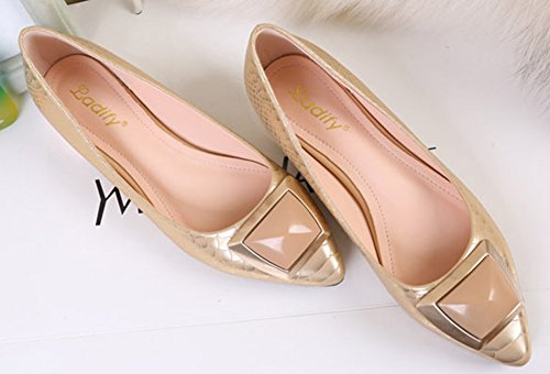 Aisun Blockabsatz Mode Schlangenhaut Metallic Damen Toe Gold Slipper Niederiger Pointed Pumps xqraxR41w