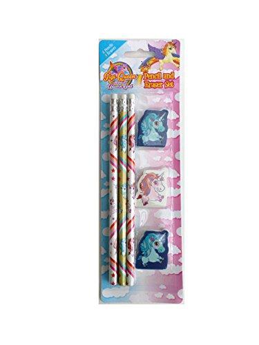 Einhorn Bleistifte und Radiergummi-Set, tolle Value Set 6Bleistifte und 3Radiergummis mit Magical Einhorn Bilder von '® (Schule Weihnachten Party-ideen)