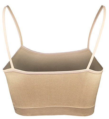 OCIA® Komfort Damen Ohne Bügel Sport BH Bustier Stretch Sports Bra Top Für Yoga Fitness-Training Nude