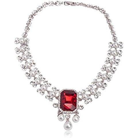Sempre Londra tre volte al rodio placcato Royal Rosso Rubino Diamante & Perla Designer collana in cristallo CZ Diamanti per matrimonio per le donne