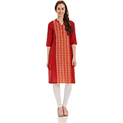 Aurelia Women's Straight Kurta (17FEK13104-78688_L_RED)