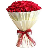 Floral Fantasy Fresh Flowers Bouquet Arrangement Indoor Plant - 30 Roses in Paper Packing (Red)