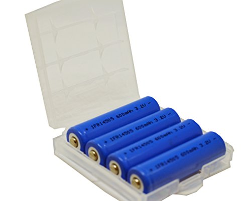 Zelle Solar (4er Pack InfiniO AA / Mignon 14500 Lifepo4 600 mAh Solarleuchten Akku 3,2V mit Schutzbox)