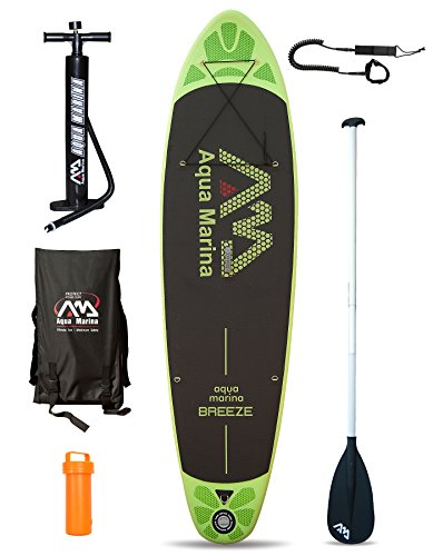 2.74 meters (BREEZE, 22,9 cm, 300 cm, Inflatable Standup Paddel Board, SUP grün Board + Paddle + Leash Board + Paddle + Leash