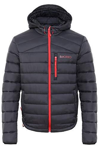 697bfe2e8bb7c Acolchado Negro Hombres Sundried abrigo de invierno cálido con capucha de  la chaqueta Puffer - acolchado