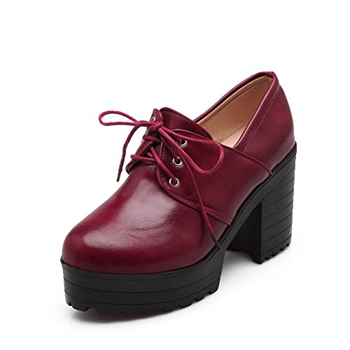 AgooLar Damen Rund Zehe Hoher Absatz Schnüren Pumps Schuhe Rot