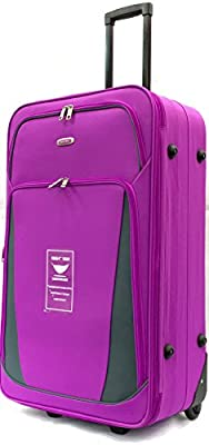 Purple Expandable Lightweight Suitcases Trolley Cases
