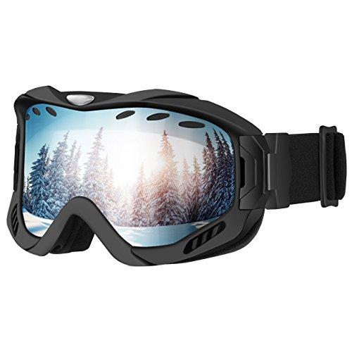Mpow Skibrille Snowboardbrille, Doppelschicht-Objektiv Wintersport Schneebrille, UV-Schutz, Anti-Fog, verbesserte Belüftung, zum Skifahren, Snowboarden, Skaten, Motorradfahren, Reiten, Schwarz