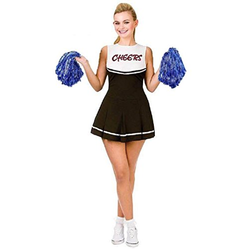 RichDeer Damen schwarz / weiß High School Cheerleader Kostüm dress-up Party Halloween Kostüm Outfit Beifall Muster (Size one size) Schwarz-Weiß