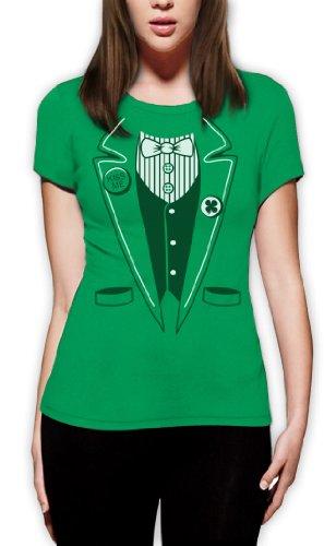 St.Patty Day Irish Tuxedo Frauen Grün Medium T-Shirt Slim (Patricks Shirts Damen St Day Für)