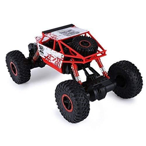 SKM Ferngesteuertes Auto, Spielzeugauto 2,4 GHz 1:18 Skala RC Rock Crawler 4WD Offroad Race Truck Buggy Truggy Spielzeug für Kinder (Rot, EU Stecker) - 1 Rock Crawler 10 Rc Rtr