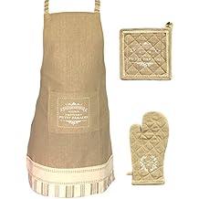3-teiliges Küchenschürzen Set aus 100% Baumwolle, Küchenschürze, Topflappen & passender Backhandschuh, erhältlich in 2 Farben (Beige)