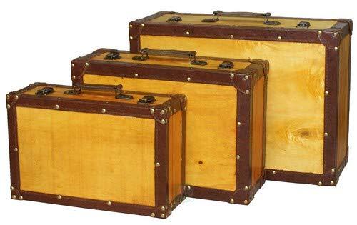 Juego de 3 maletas que simulan baúles