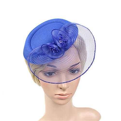 QIMANZI Frauen Mädchen Fascinators Hair Clip Haarnadel Hüte Feder Kopfschmuck Kopfbedeckung Cocktail Hochzeit Tea Party Hat (Blau)