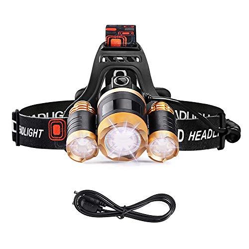 LED-Taschenlampe USB-wiederaufladbare, super helle leistungsstarke Stirnlampe Zoomable Headlamp 5000 Lumen 4 Modi für harte Arbeit im Auto