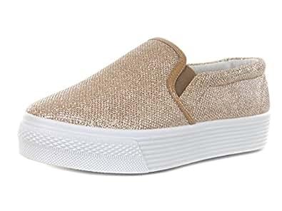 Damen Plateau Sneaker Slipper Metallic Glitzer Look (40, Gold)