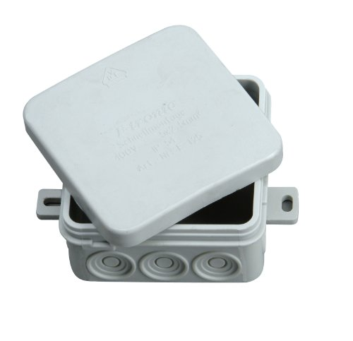 Kopp Abzweigdose Profi-Pack 10x Aufputz für den Feuchtraum, 75 x 75 x 40mm, spritzwassergeschützte Kabelabzweigdosen, IP54, Verbindungsdosen mit 12 Kabeleinführungen, grau, 340604504
