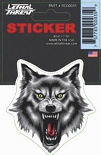 Adhesivo Diseño de Cabeza de Lobo Gris y Negro