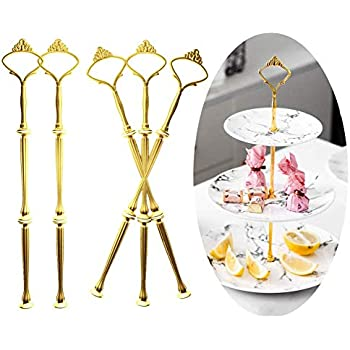 Cake Stand Fittings Plates not Included Wolintek 8 Sets Heavy Cake Stands 2 Or 3 Tier Wedding Party Cake Plate Handle Silver Centre Rod for Cake Plates