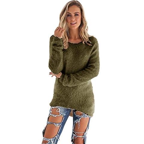 FORH Damen Mode O-Hals Einfarbig warm weich Lange Ärmel Pullover Pullover Bluse (Größe:S/M/L/XL/2XL/3XL)) (S, Armee