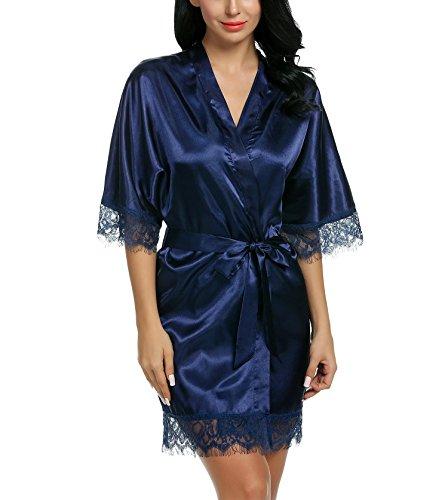 Avidlove Damen Satin Schieres Kimono Robe Einfarbig 6 Farben, XL, Marineblau