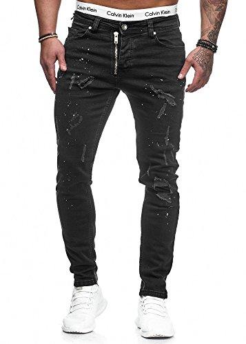 Herren Designer Chino Jeans Hose Basic Stretch Jeanshose Slim Fit W28-W36 (W34 L32, Schwarz Risse 5073) -