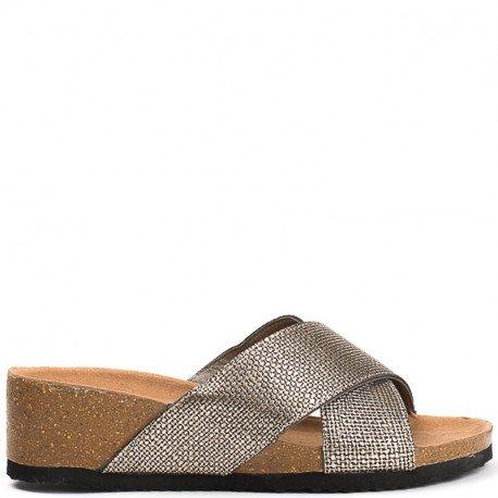 Ideal Shoes - Mules compensées nacrées effet reptile Feliana Bronze