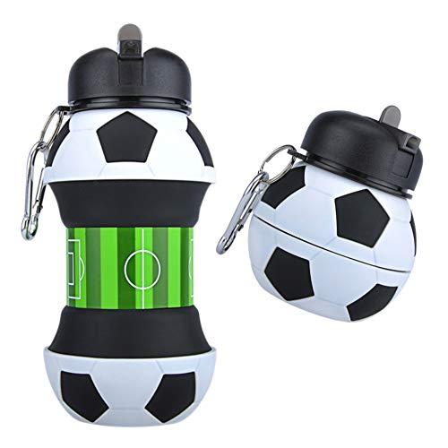 AToZ UK - Botella de Agua de fútbol para niños - Botella de Silicona Plegable - Taza de Bebida Sin...