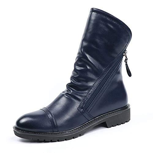 hel Stiefel aus weichem Leder Damenschuhe Frühling Herbst Mitte Kalb Schuhe komfortabel Kurze Plüsch Winterstiefel ()