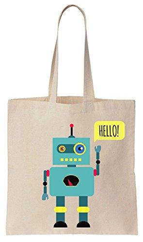 Toy Robot Saying Hello And Waving Tote Bag Baumwoll Segeltuch Einkaufstasche -