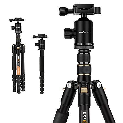 K&F Concept TM2515 Treppiede Reflex Cavalletto fotografico Professionale Portatile Alluminio Testa a...