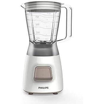 Philips HR2052/00 Licuadora Daily Basic, 1450 W, 1.25 litros, 0 Decibeles, Plástico, Blanco