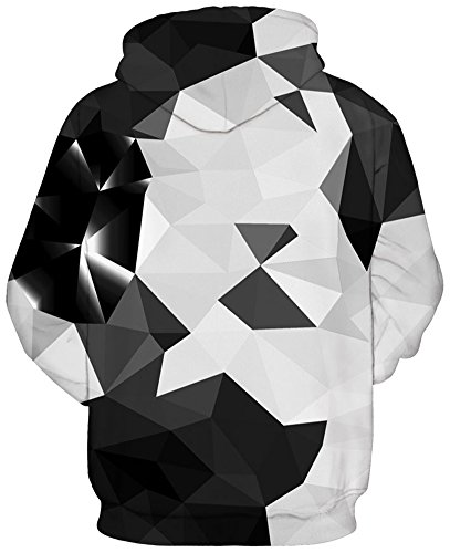 EmilyLe Herren Bunte Pullover mit Taschen Hoodie Long Sleeve Kapuzenpullover 3D Druck Cartoon Muster Sweatshirt Schwarz Kristall