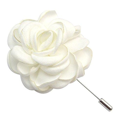 keland Blume Revers Pin Brosche handgemachte Boutonniere für Anzug Broschen Corsage (Weiß)