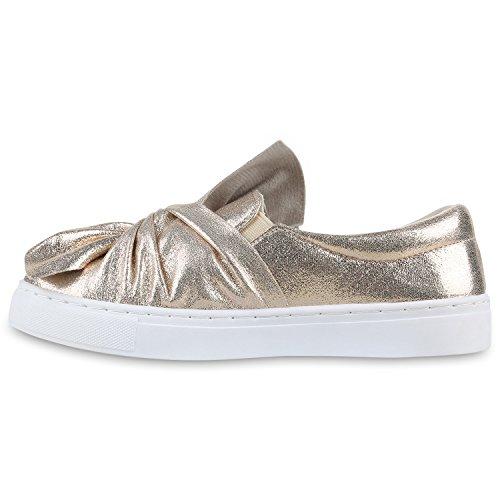 7a7c9b15d2c544 Damen Slipper Sneakers Slip-ons Lederoptik Schuhe Schleifen Gold Schleife  ...