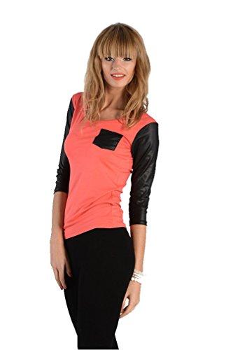 Longshirt Shirt mit Wetlook Top in 5 Farben, Gr. S M L XL, 8084 Koralle