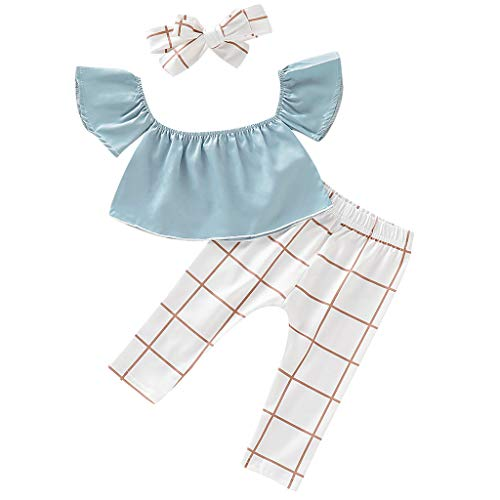 Mitlfuny Kleidung Set Kleid Damen Sommer Elegant Baby Mädchen Outfits & Set,Infant Baby Kid Girl Schulterfrei Tops + Floral Plaid Pants + Stirnband Outfits Set Floral Ruffled Band