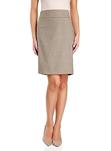 oodji Collection Women's Straight Jacquard Skirt, Beige, UK 14 /