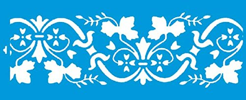 42cm x 17cm Flexibel Kunststoff Universal Schablone - Wand Airbrush Möbel Textil Decor Dekorative Muster Design Kunst Handwerk Zeichenschablone Wandschablone - Lilie Blatt Muster Natur Blumen (Flex-lilie)