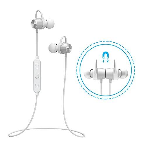 8-spur-bluetooth (Bluetooth Kopfhörer Sport Mpow Wasserschutz In Ear Kopfhörer magnetische Bluetooth Headset 4.1 Kabellos Stereo Handy Sportkopfhörer Joggen Ohrhörer Wireless mit Mikrofon, 7 Stunden Spielzeit, Lebensdauergarantie für iPhone 7 7 plus 6 6S SE Samsung Galaxy MP3 usw. -Weiß)