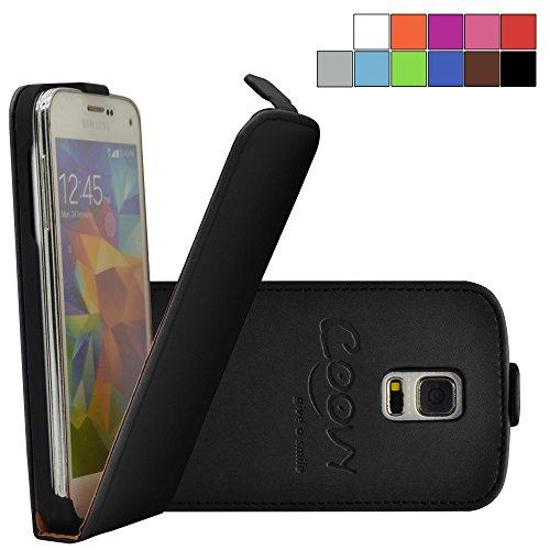 COOVY® Cover für Samsung Galaxy S5 Mini SM-G800 SM-G800H/DS DUOS Slim Flip Case Tasche Etui inklusive gratis Displayschutzfolie | Farbe schwarz