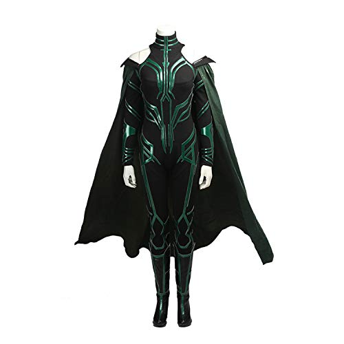 Kostüm Bilder Göttin - QWEASZER Marvel Thor 3 Hela Göttin des Todes Kostüm Damen Onesies, Mäntel, Schuhe Halloween Kostüm Party Cosplay Kostüm Requisiten Deluxe Edition,hela Goddess of Death-Custom Size