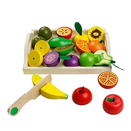 Fruits à Couper en Bois et Lègumes à Découper Jeu de Jouets de Coupe de Légumes en Bois pour Enfants