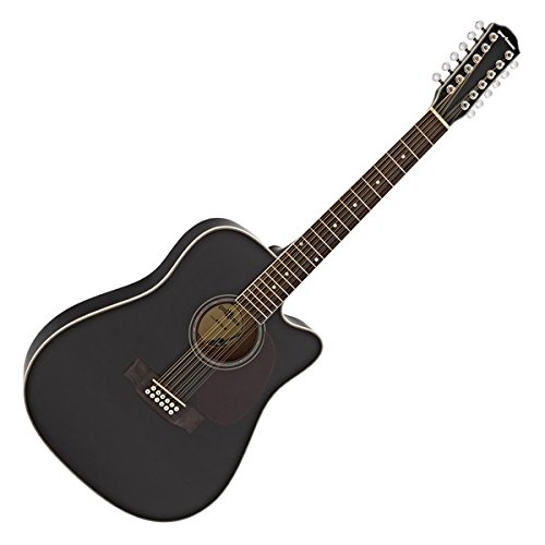 12-saitige Dreadnought-Akustikgitarre von Gear4music Black