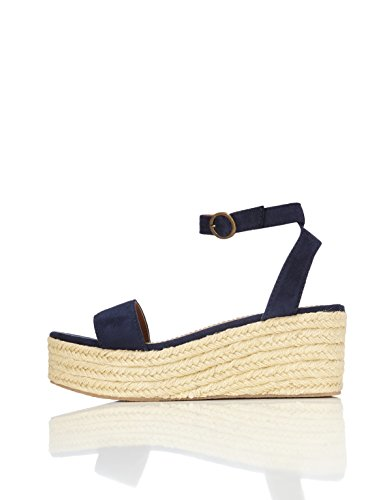 Navy Kleid Damen Blau Schuhe (FIND Damen Open Toe Ankle Strap Wedges, Blau (Navy), 40 EU)