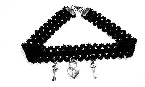 Elegant Rose 10 piezas choker collares elástico terciopelo Classic adhesivo de gótico Encaje Gargantilla Collares, Negro