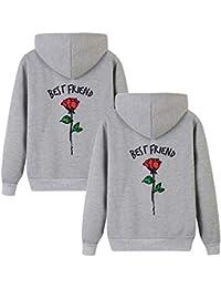 Beste Freunde Kapuzenpullover für Zwei Damen Friends Pullover Sweatshirts  Partner Look Damen Sweatshirts Sister Rose Pulli f642e41139